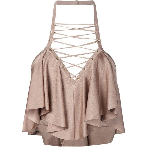 Balmain Ruffle Cropped Top (€705) ❤ liked on Polyvore featuring tops, crop tops, shirts, blusas, brown, sleeveless tops, halter top, open back shirts, brown halter top and open back tops