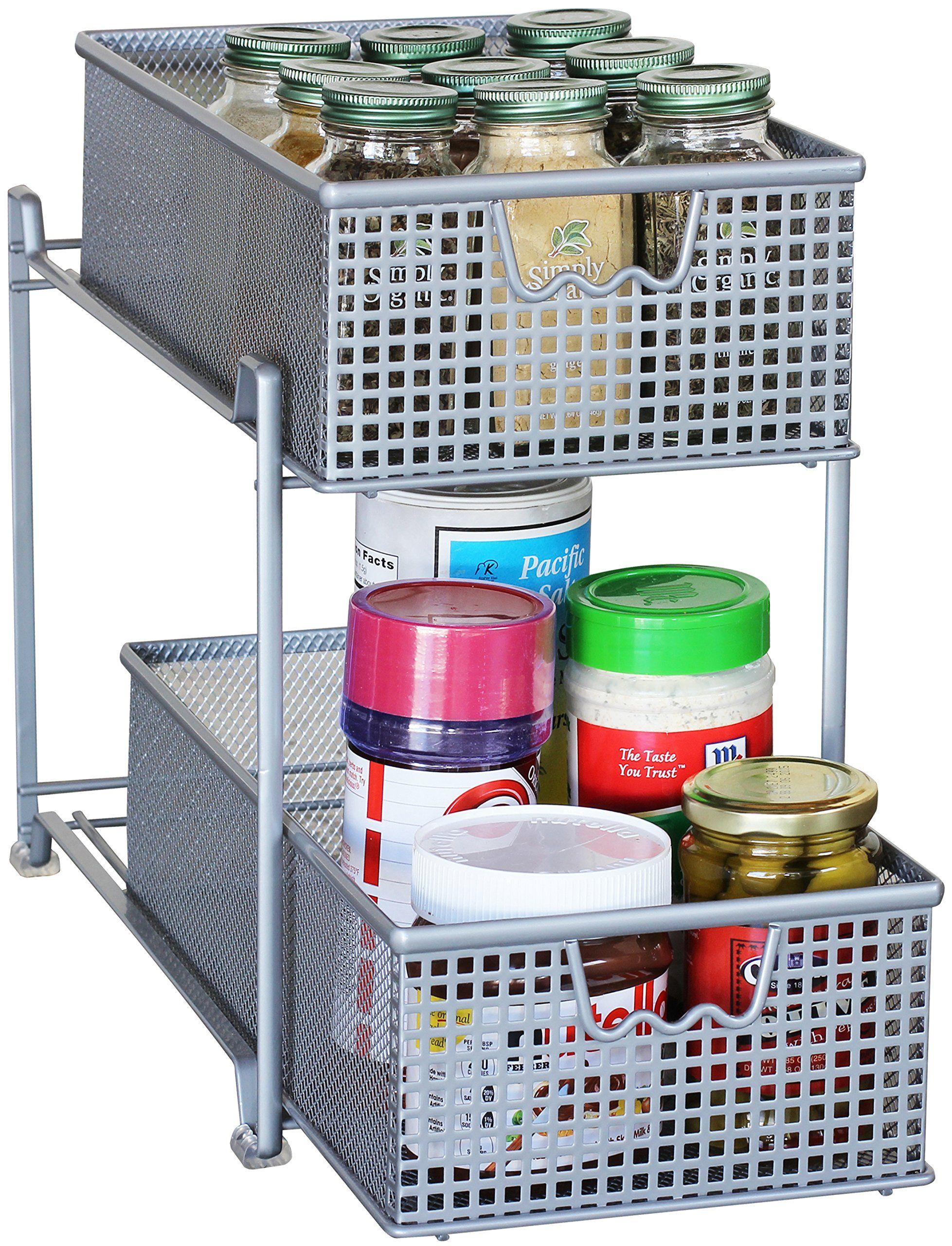 Amazon.com - DecoBros Two Tier Mesh Sliding Cabinet Basket ...