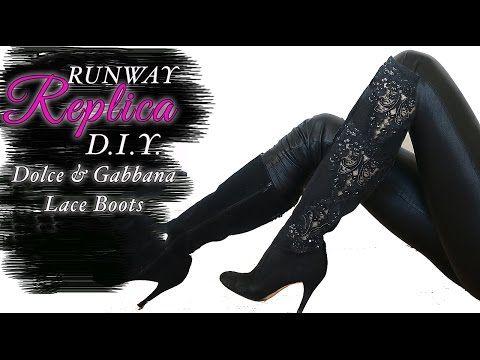 00020016aa021 34) DIY Dolce&Gabbana LACE Boots - YouTube | Diy | Boots, DIY, Fashion