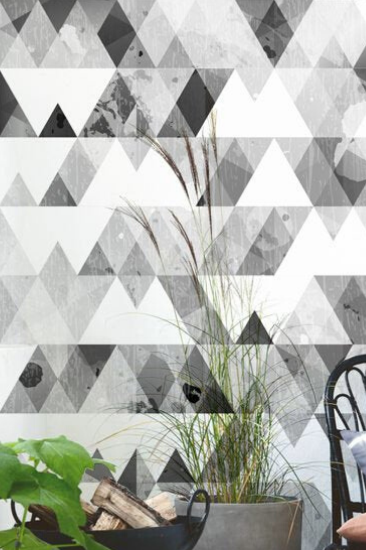 Grey Traingles Wall Covering Triangles Wallpaper Traditional Geometry Mural Peel And Stick Self Adhesive Black And White Pattern 122 In 2020