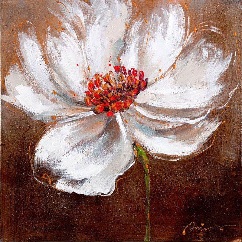Black Flower Watercolor Art By Tae Lee: Toile Peinte Floral 60x60 Marron CR. Diffusion