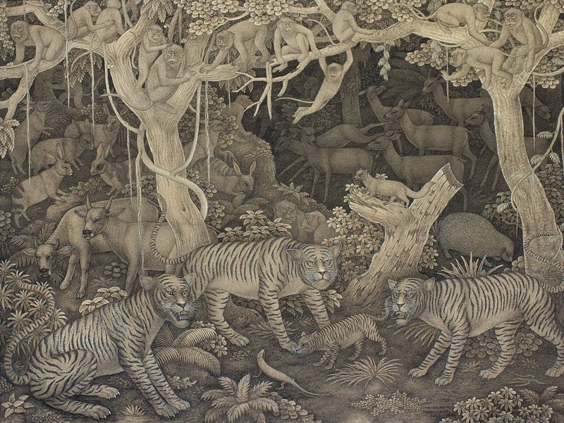 Traditional Balinese painting - 'The Forest' by I. Wayan Asta - courtesy of the Agung Rai Museum of Art (ARMA), Ubud, Bali