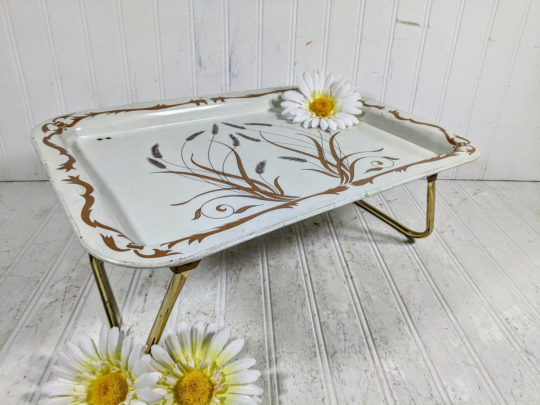 Vintage Tray Table Folding Bed Tray Retro Metal Wheat