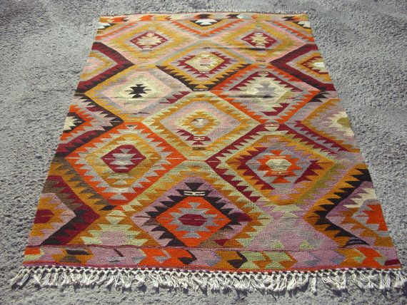 Turkish Kilim Rug Large Rug Kelim 93 3 X 64 1 Area Rug