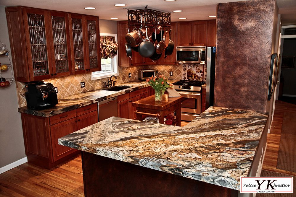 Magma Gold Granite Leathered Log Home Kitchens Gold Granite