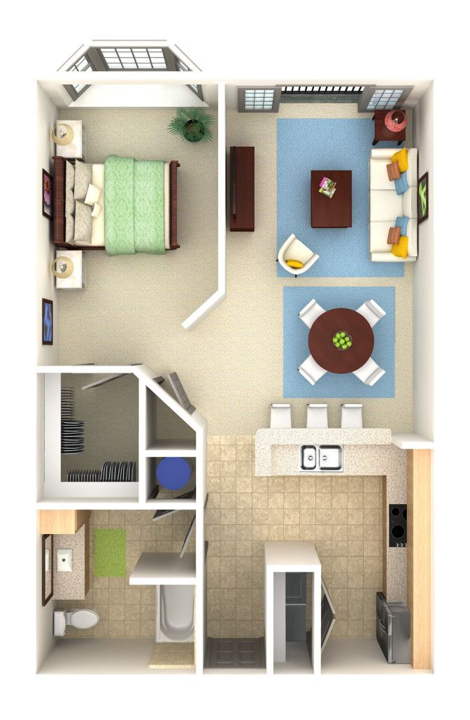 Apartment condo overhead 3d rendering prevision 3d llc for 1br apartment design ideas