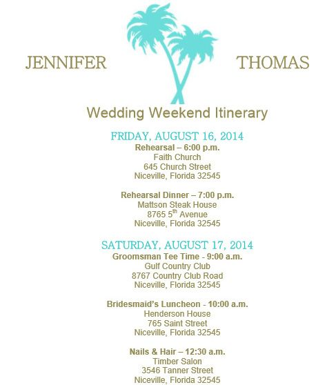 Beach Theme Wedding Itinerary Template On Bridetodo