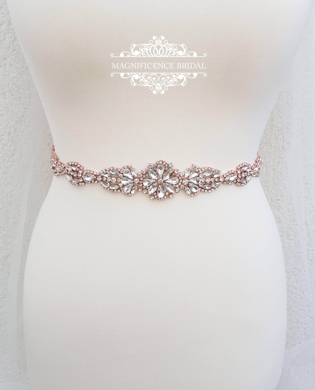 Rose gold bridal belt bridal belt bridal sash thin bridal belt