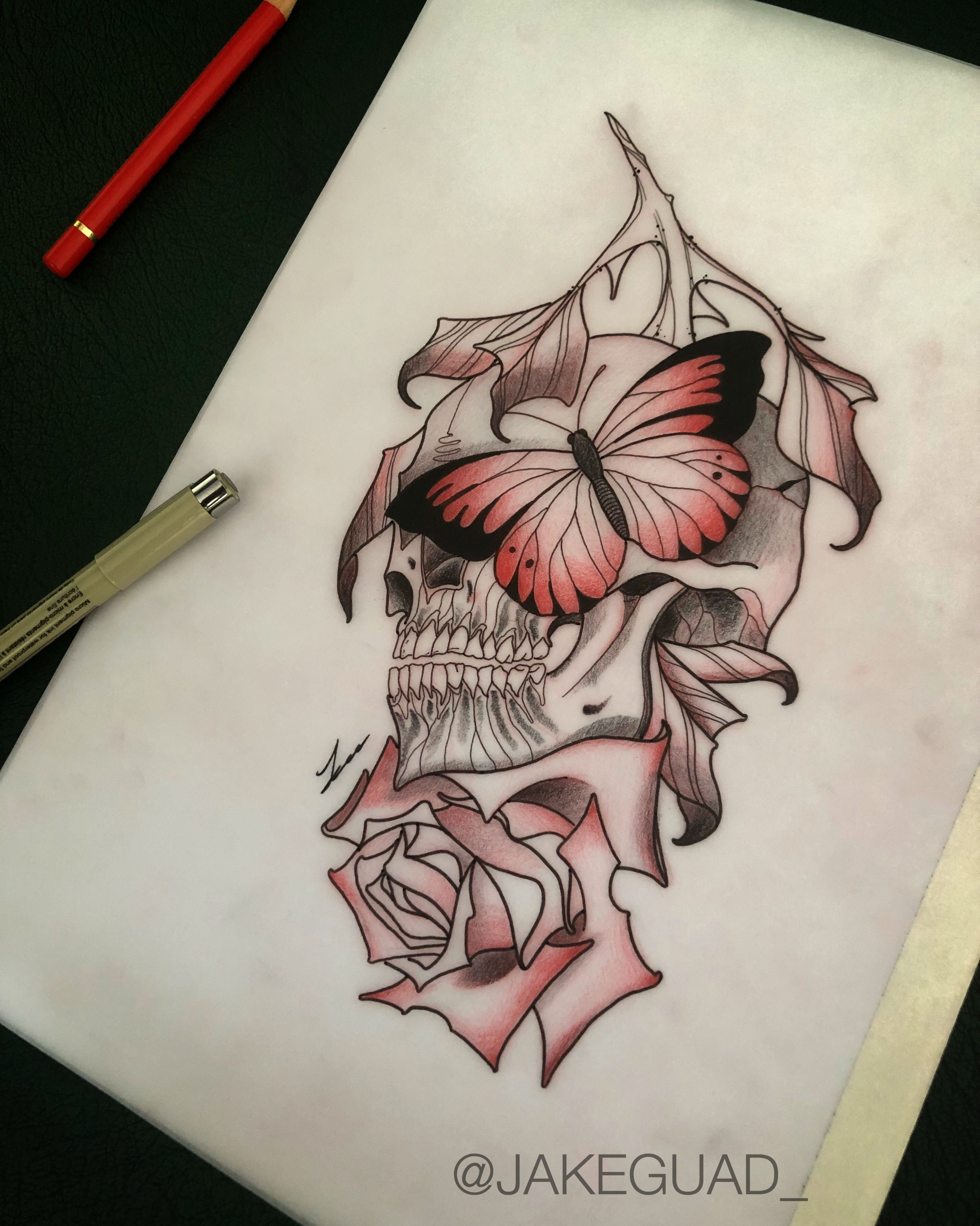 Neo Traditional Skull Rose Butterfly Tattoo Design By Jake Guad