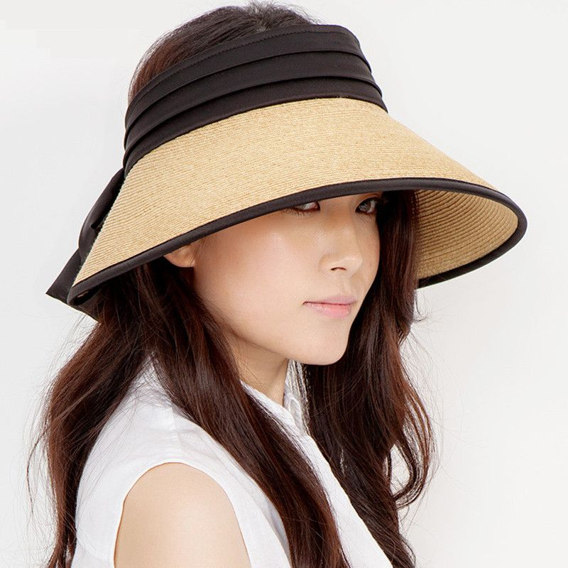 Straw visor hat for summer wear wide brim sun hats  5764ee2ea32