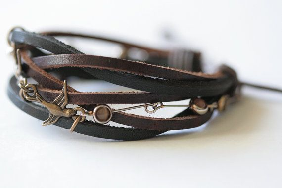 Leather Cuff Bracelet  Chasing Sparrows by MMVintageSweets on Etsy,