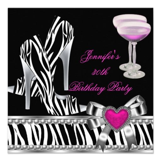 Shoes Pink 30th Birthday Party Zebra Champagne Custom Announcements