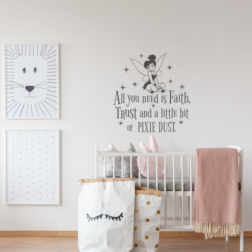 Faith Trust Pixie Dust Girls Bedroom Wall Stickers Fairy Nursery Wall Quotes