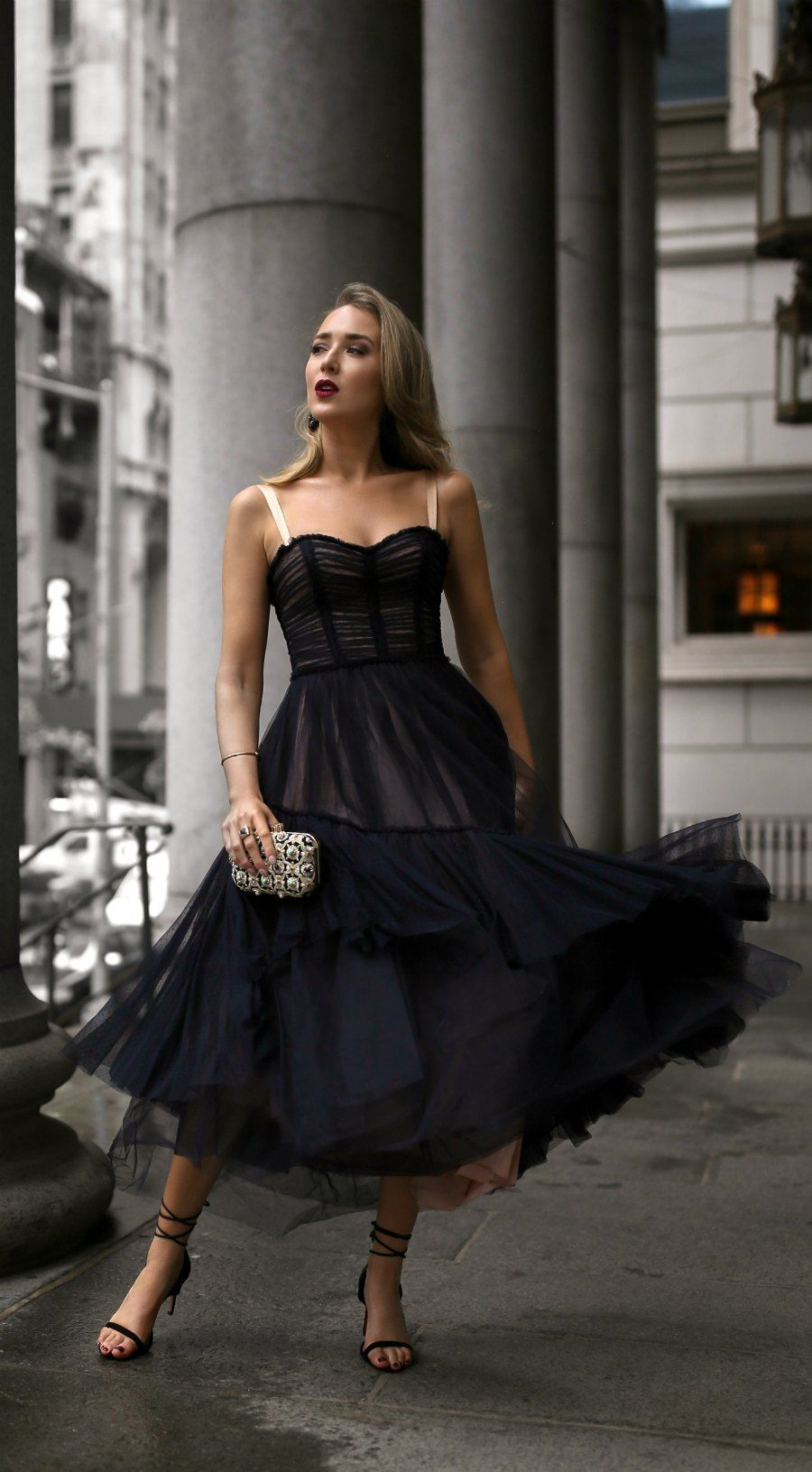 30 Dresses In 30 Days Day 19 Charity Gala Black Lace Tulle Bodice Style Flowy Midi Dress Little Black Dress Outfit Fashion Classy Wedding Guest Dresses [ 1631 x 900 Pixel ]