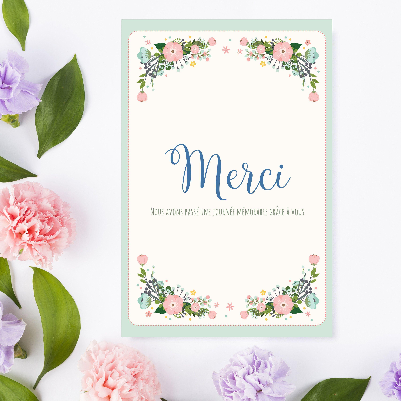 Cartes De Remerciement Bapteme Theme Champetre Et Fleurs