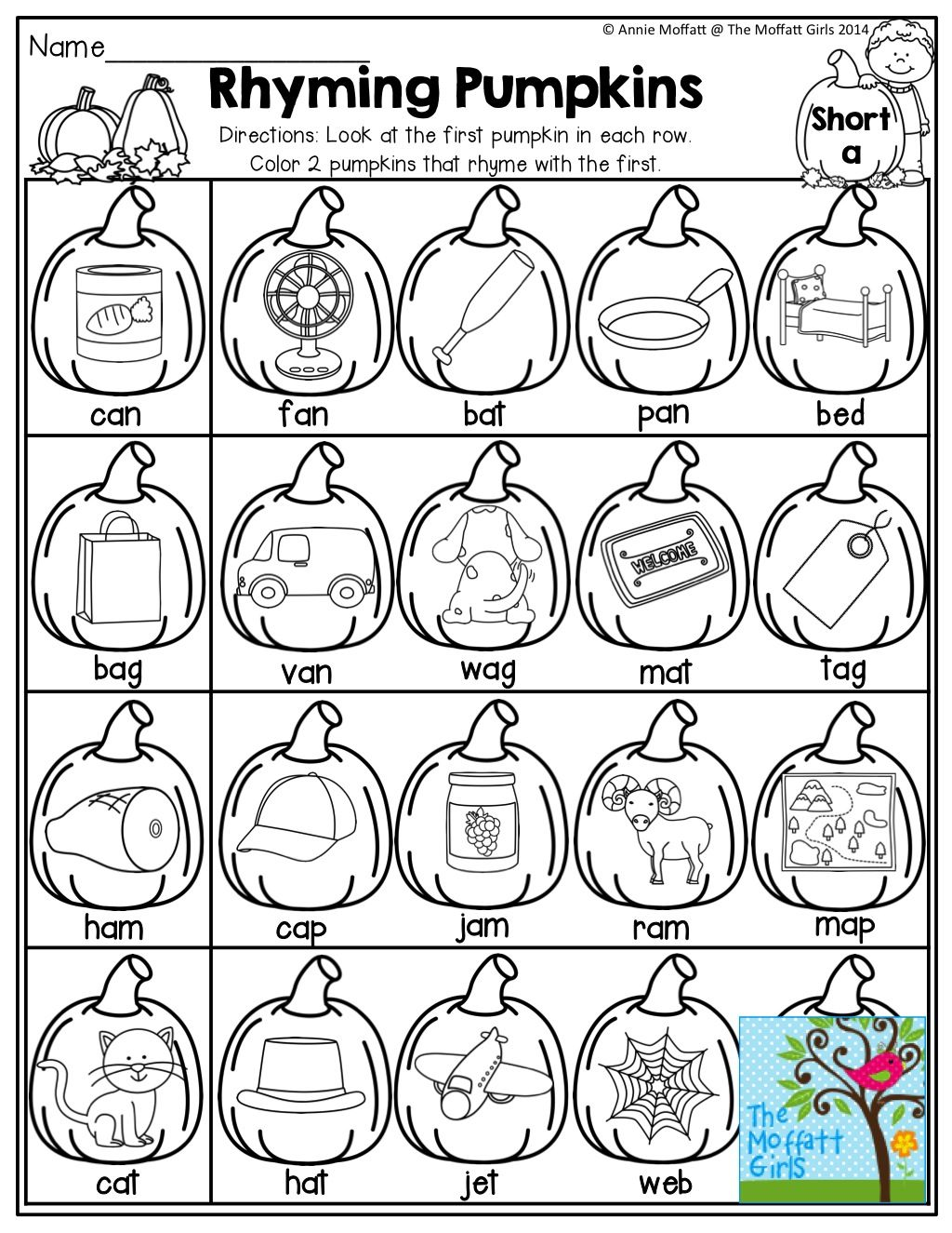 Rhyming Pumpkins Color The Pumpkins That Rhyme And Tons