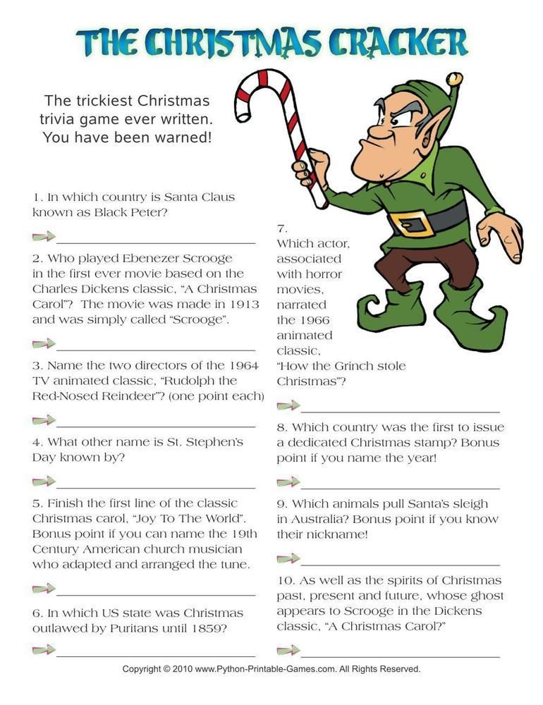 Christmas Cracker Hard Trivia, 3.95 Printable