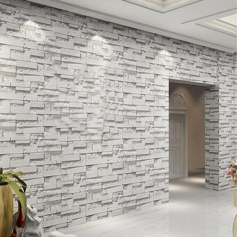 3d Embossed Vinyl Wallpaper Mural Papel De Parede Modern Stone Brick Waterproof Pvc Wall Covering P Brick Waterproofing Brick Effect Wallpaper Rooms Home Decor