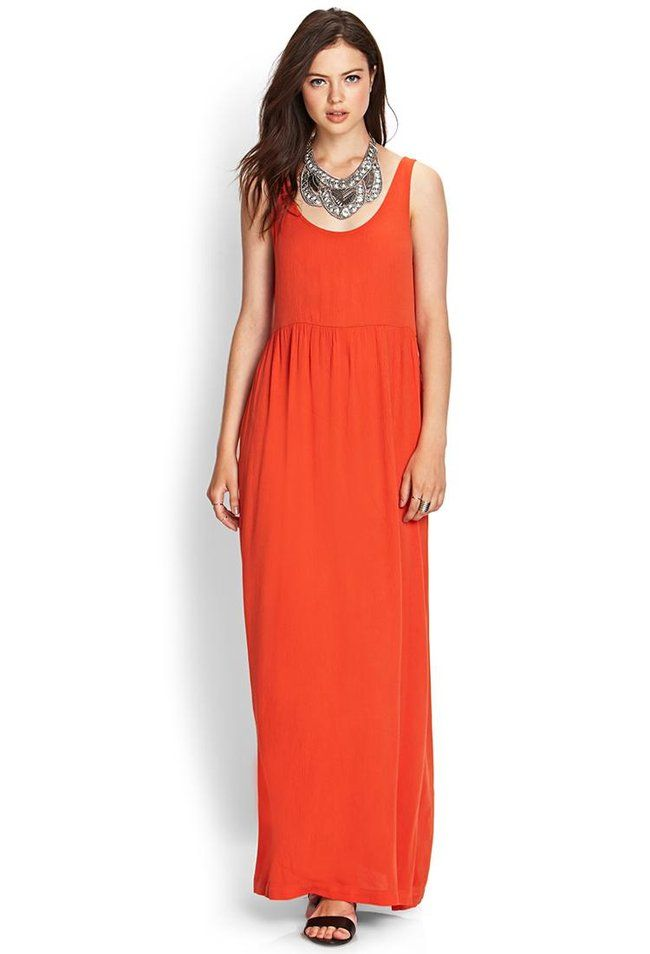 720f877ada492 Love 21 - A crepe woven maxi dress featuring a scoop neckline and empire  waist. . Sleeveless. Unlin.