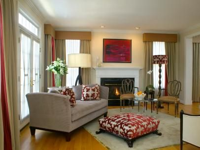 Neutral Living Room With Coordinating Red Accents