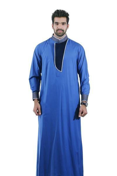 Chm102 Smart Blue Thobe Jubah Formal Attire For Men Mens Suits