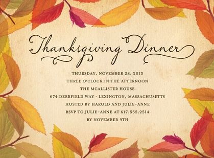 Feast your eyes on your fall foliage Thanksgiving invitations.