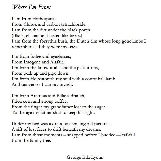 fbfaf8c24a0f where i am from george ella lyon | Poem : Where Im From by George Ella Lyon