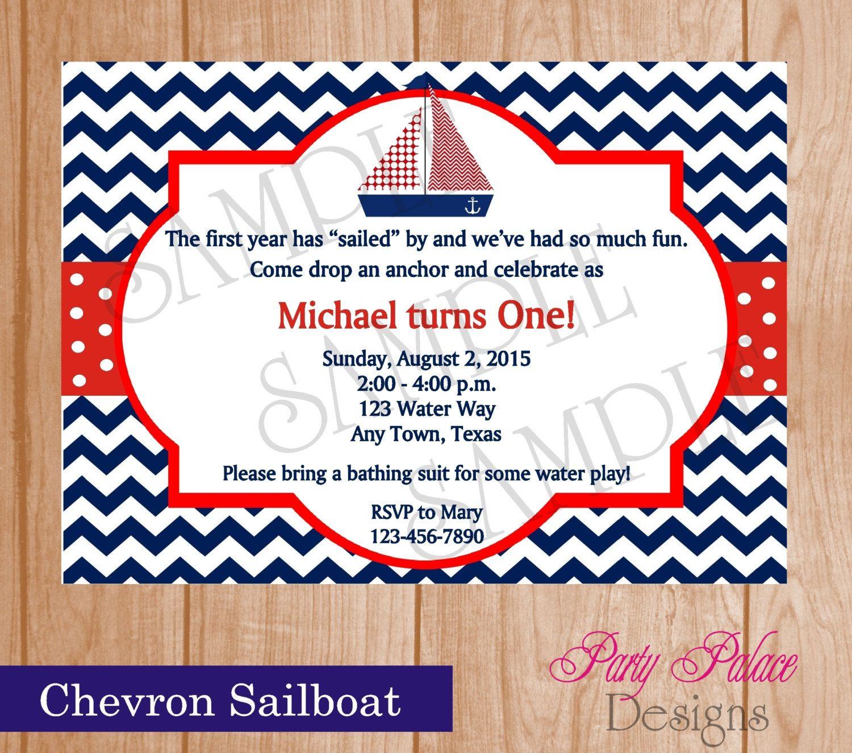 Custom Printed Chevron Nautical Sailboat, Baby Shower, Birthday ...
