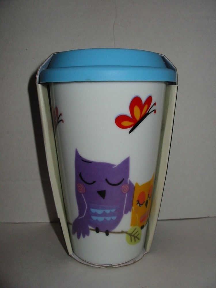 Ciroa Ceramic Travel Coffee Mug Cup Sleeping Owls Blue