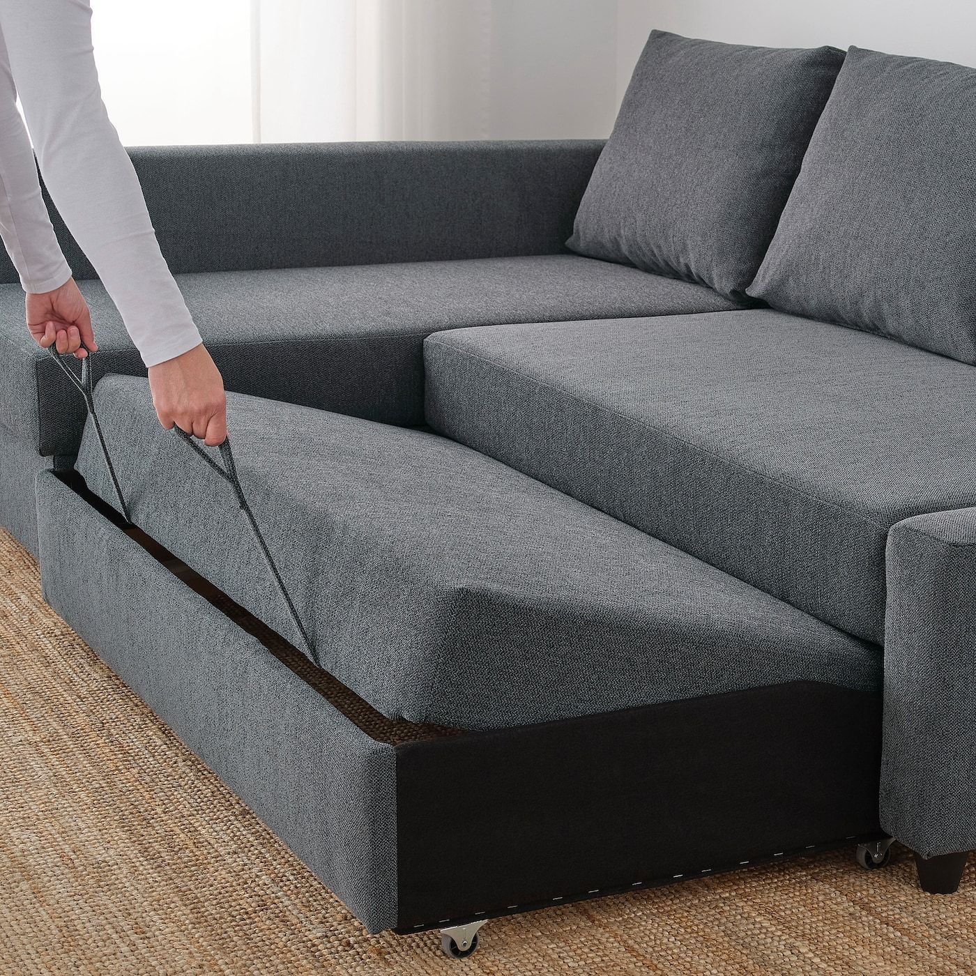 Friheten Sleeper Sectional 3 Seat W Storage Hyllie Dark Gray