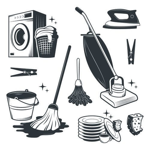 Black with white cleaning tools vector Cleaning tools