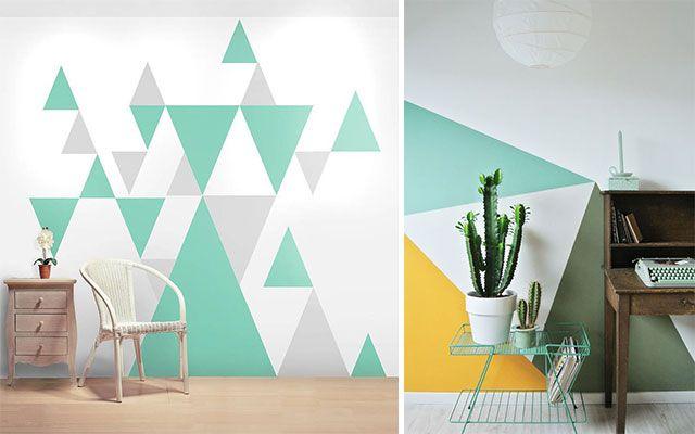 ideas para pintar paredes con tringulos