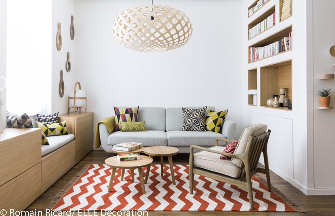Visite en 3D du0027un appartement malin de 40 m² - Elle Décoration - cuisine ouverte sur salon m