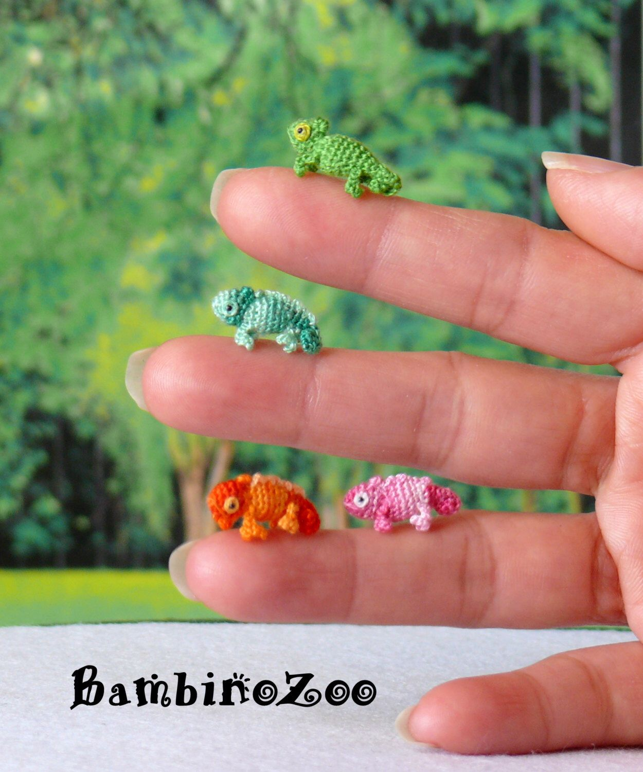Mini Chameleon - choice of color - hand made crochet amigurumi ...