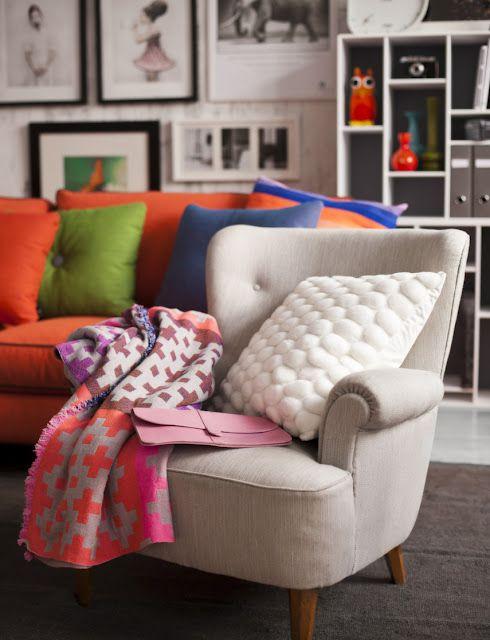 Grey Armchair, Bright Textiles