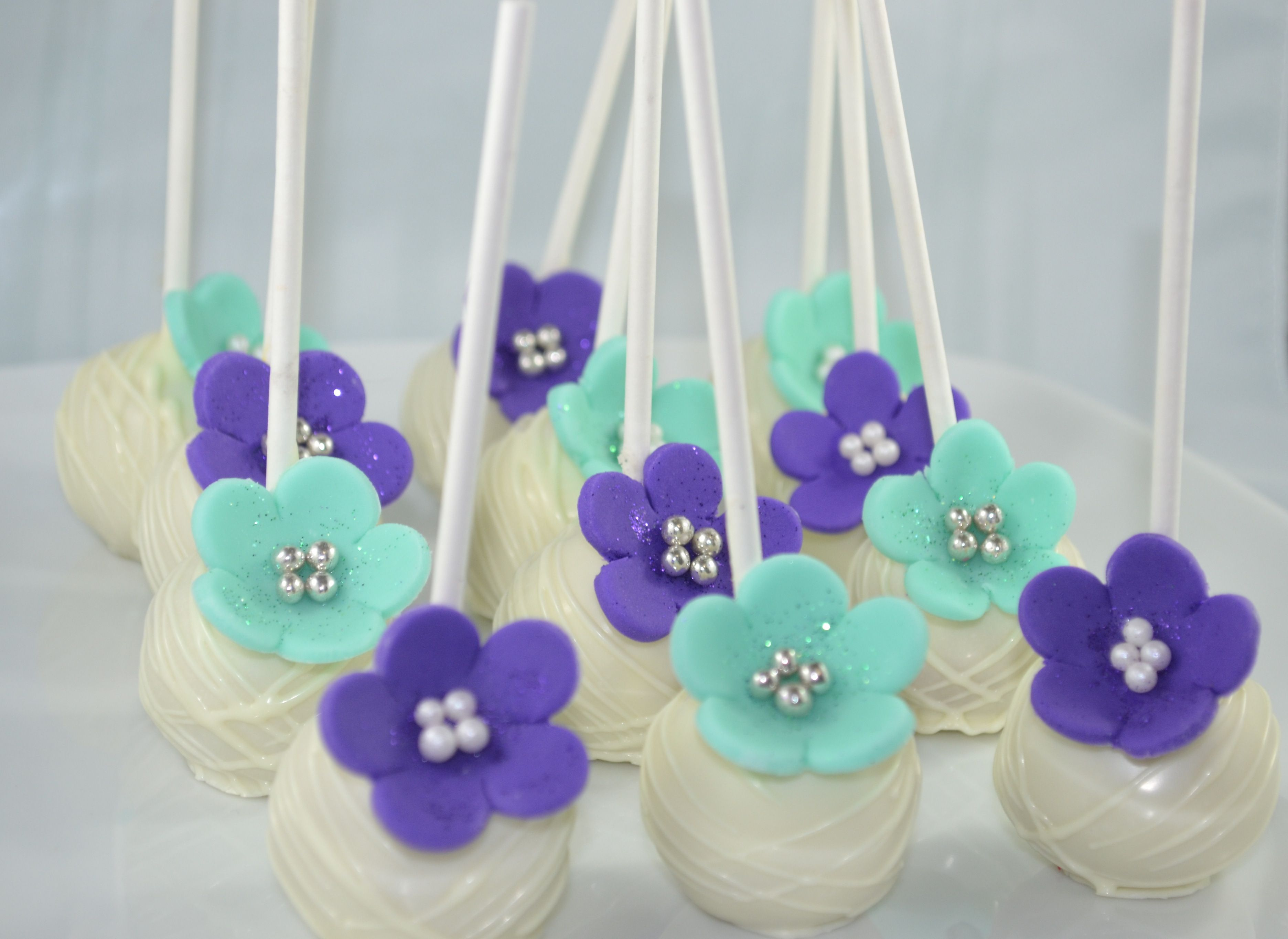 Turquoise and purple cake pops by sweet treatz cake pops www