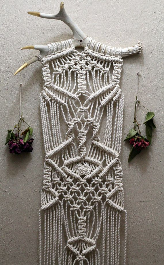 Macram 233 Wall Hanging On Gold Tipped Deer Antlers Macrame