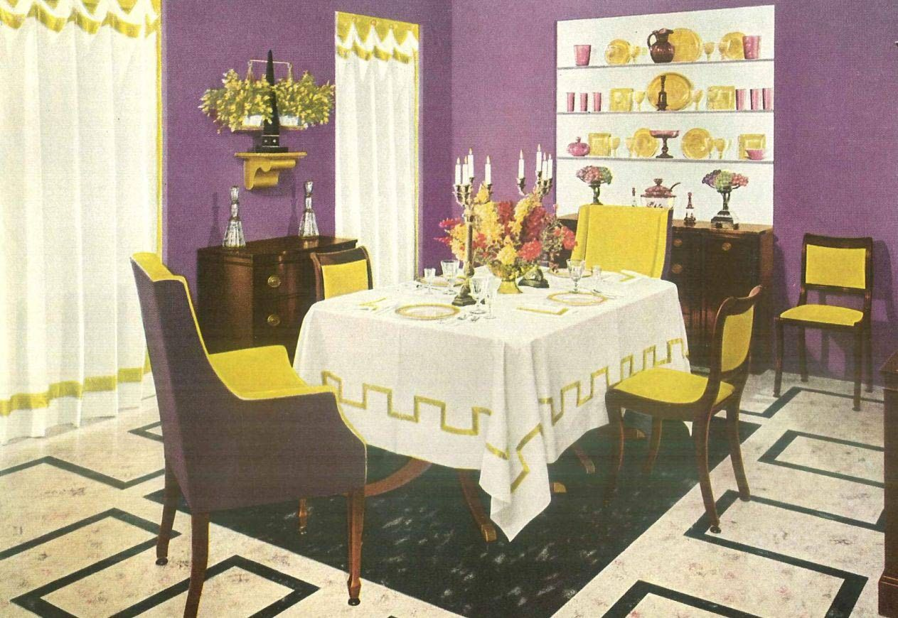 1940S Interior Design 1940S Interior Design  A Purple And Yellow Dining Room  Favorite