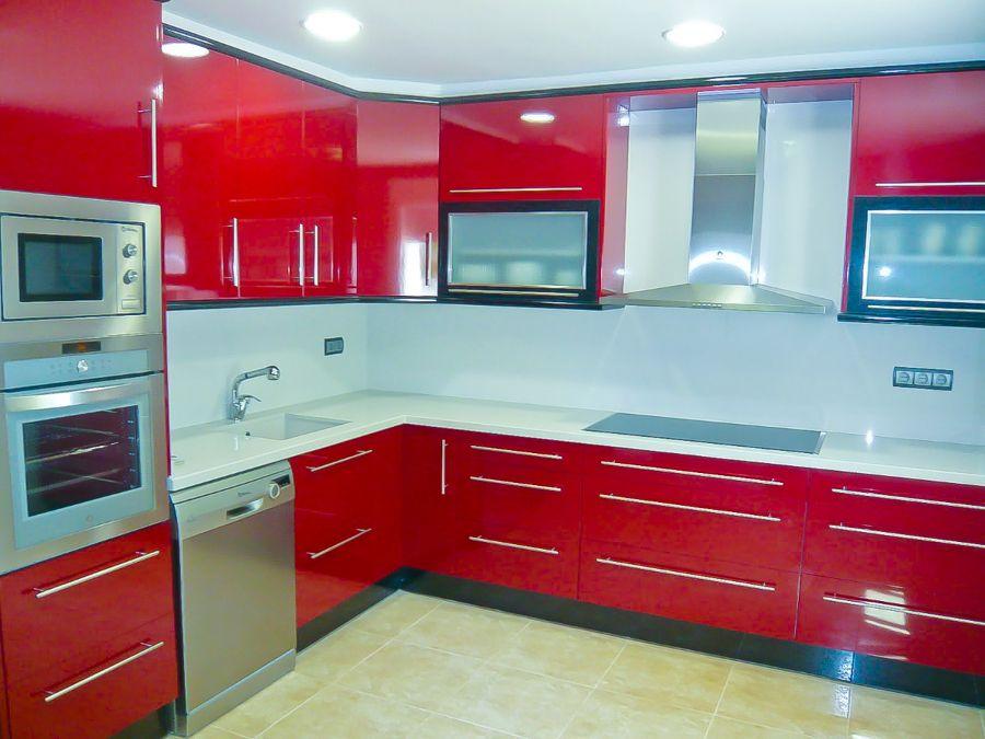 Reforma cocina roja sweet home pinterest cocinas for Cocinas enchapadas