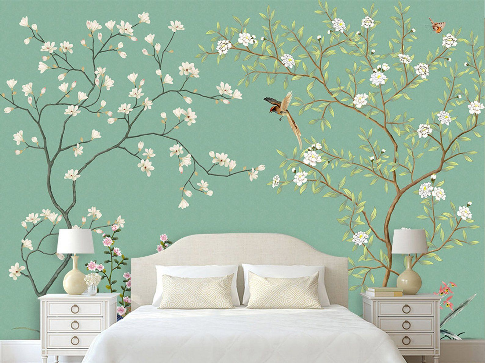 Chinoiserie Brushwork Light Green Background Flowers and