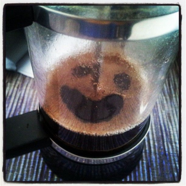 You know it's going to be a good day when the coffee is smiling to you from the pot