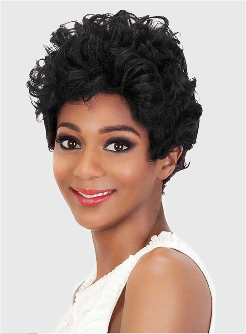 Black Color Short Curly Synthetic Capless Wigs for Black