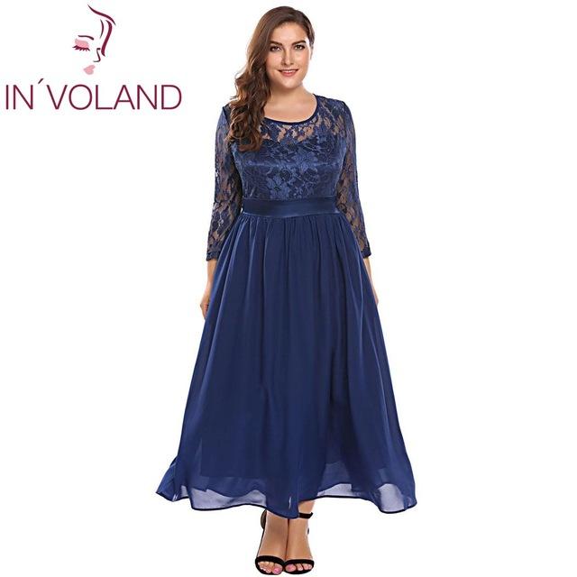 7296e58ec57 IN VOLAND Women Vintage Lace Dress Plus Size XL-5XL Autumn Hollow Floral  Lace 3 4 Sleeve Party Swing Maxi Large Dresses Big Size  dresses