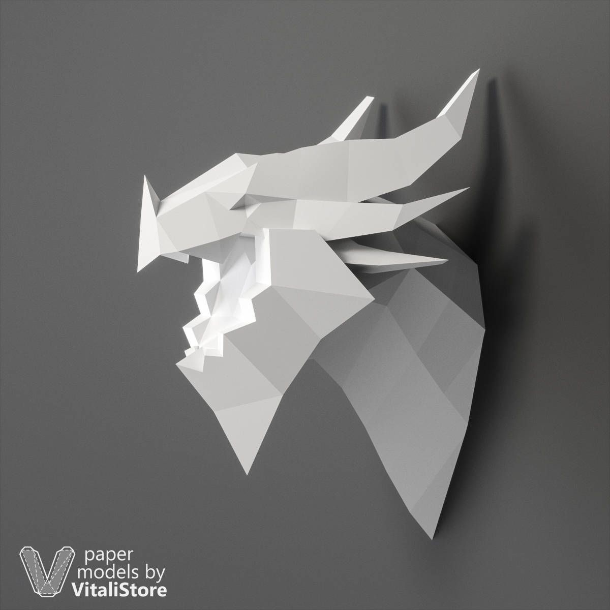 Papertrophy Dragon Papercraft Low Poly Dragon Dragon Head Paper