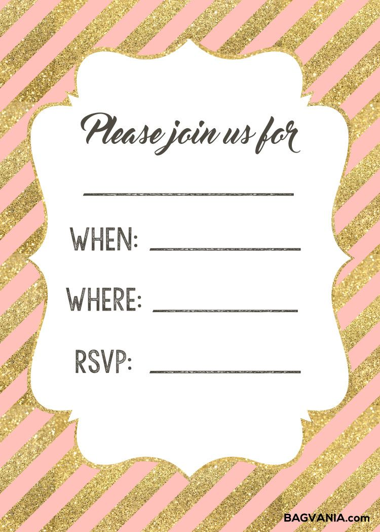 Free Birthday Invitations Template Gold And Pink F Printable Birthday Invitations Free Printable Birthday Invitations Girl Free Birthday Invitation Templates