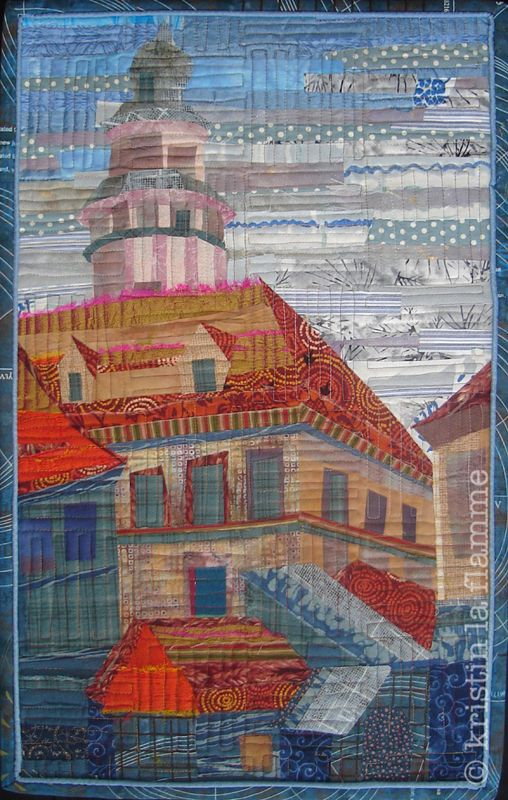 """Foggy Morning in Cesky Krumlov"" (a town in the Czech Republic), art quilt by Kristin LaFlamme."
