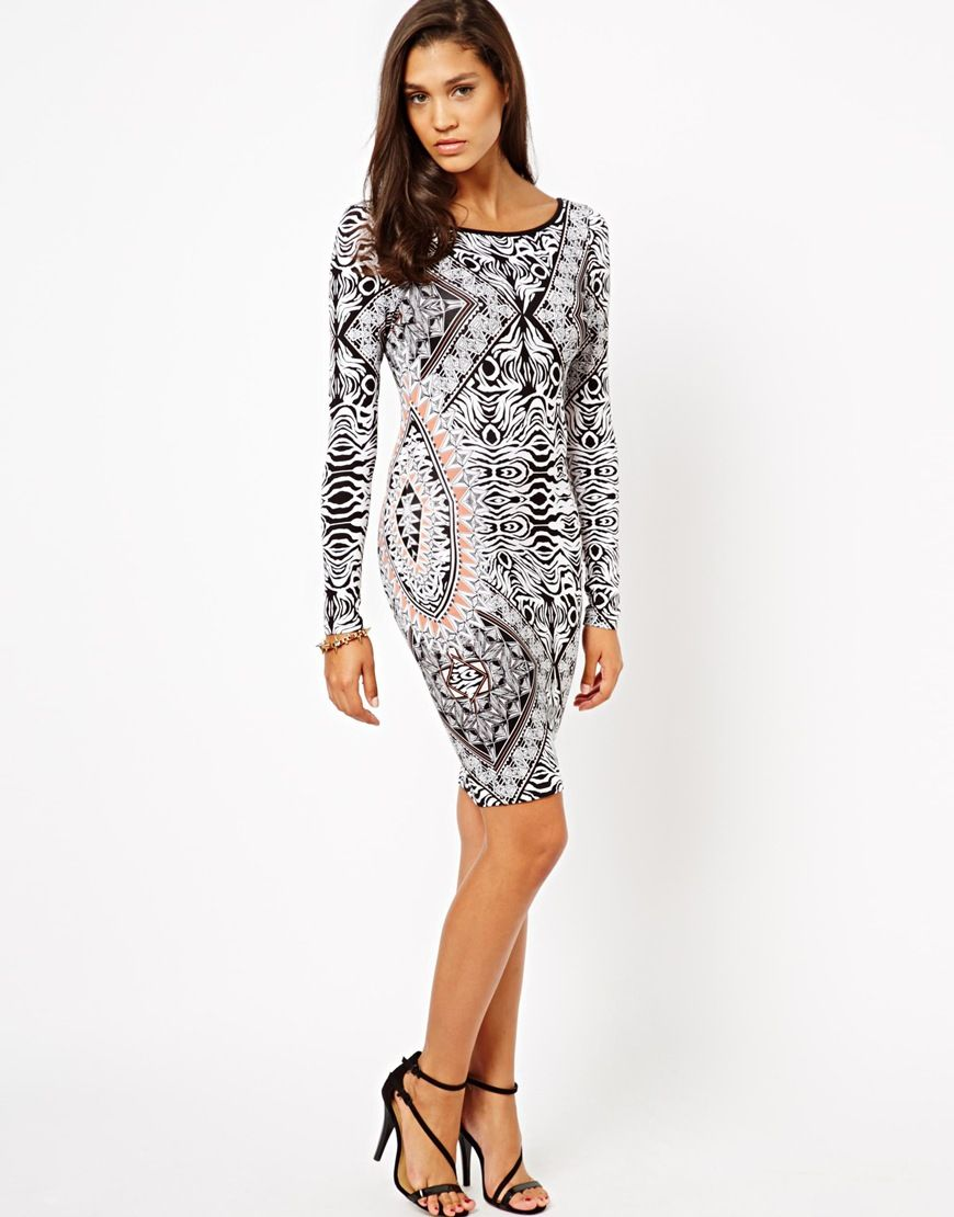 Lipsy Long Sleeve Printed Bodycon Dress in Black | Lyst