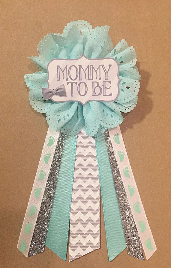 Beautiful Adorable Gray Teal Silver Baby Boy Shower Mommy To Be Flower Ribbon Pin  Corsage Glitter Mommy Mom New Mom Its A Boy Bow Tie