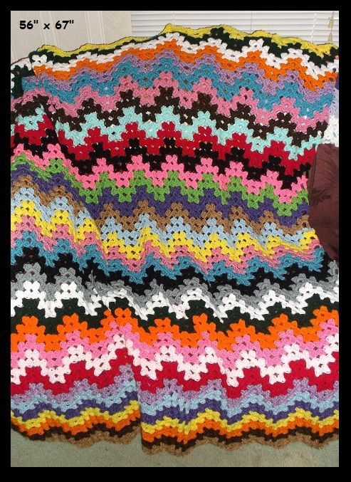 Granny Ripple Crochet Scrap Afghan Crochet Afghans Blankets
