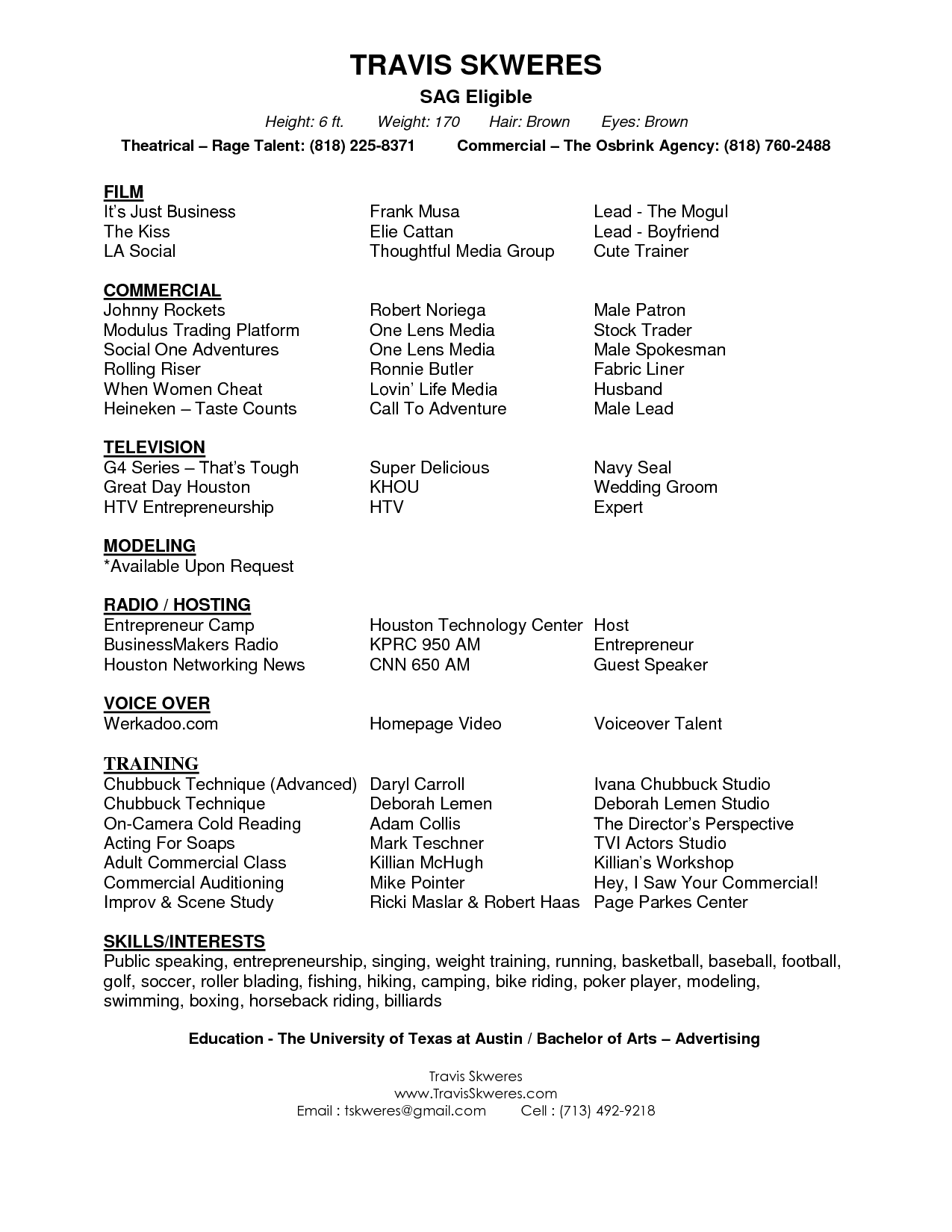 Acting Cover Letter Actor Resumes Samples Rama Restaurant Career Free Resume Example